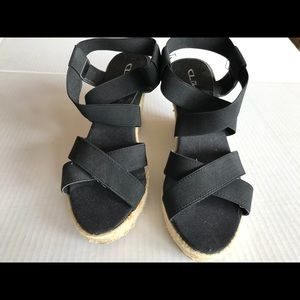 CL by Laundry Strappy Black Espadrille Wedge